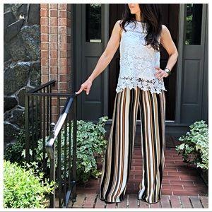 Pants - Multi striped wide leg pants
